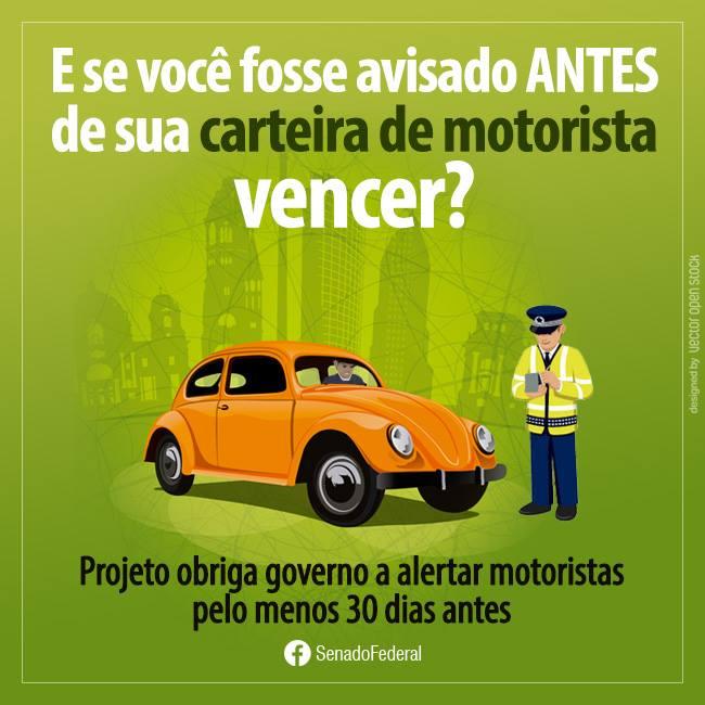 Projeto obriga governo a alertar cidadãos antes do vencimento da carteira de motorista