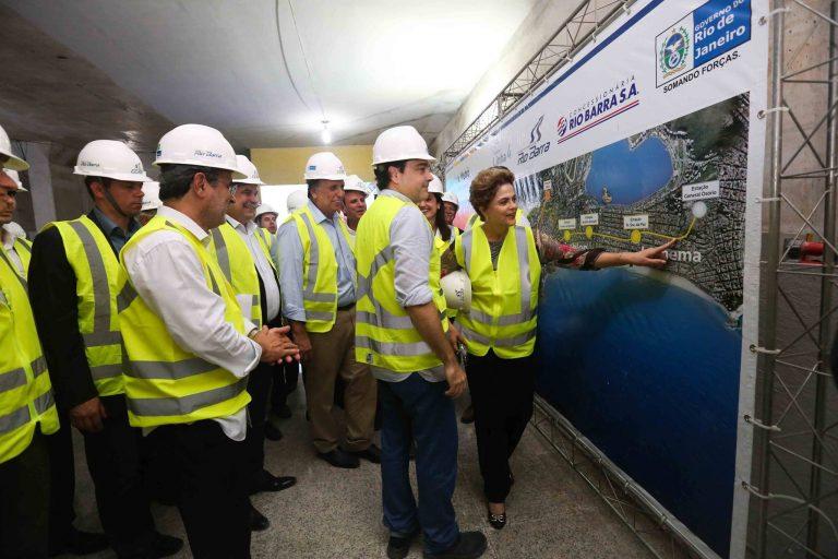 Linha 4 do Metrô: presidente Dilma Rousseff visita as obras, que alcançam 83% de execução