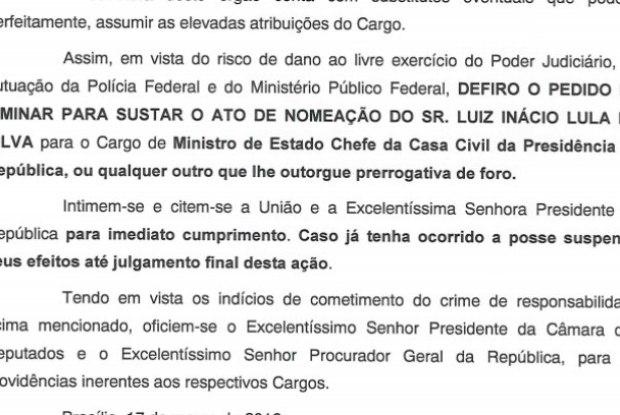 Justiça suspende nomeação de Lula