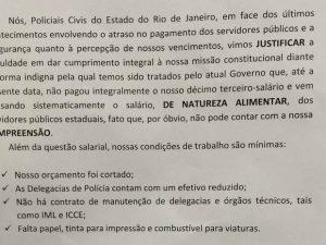 Policiais civis fazem paralisação de três dias no Rio