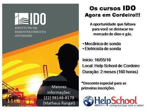 Cursos profissionalizantes na área de óleo e gás.  Agora no Help School de Cordeiro!!!! Aproveite essa oportunidade!!!