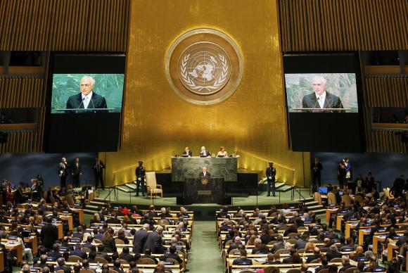 ONU: representantes de seis países deixam plenário em protesto contra Temer