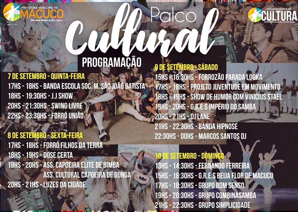 Palco Cultural com atrações para vários públicos.