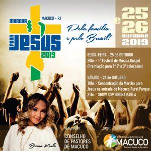 Macuco recebe nos dias 25 e 26 de Outubro, mais uma edição do Marcha para Jesus, um evento de renome internacional, realizado pelas Igrejas evangélicas do município.O evento é organizado pelo Conselho de pastores e conta com o apoio da Prefeitura de Macuco.