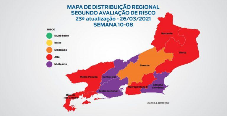 Mapa de risco da Covid-19: estado apresenta bandeira vermelha